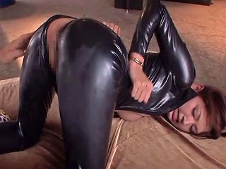 AnyPorn Porno - Asian Babe In A Black Leather Catsuit Loves Aggressive Sex Any Porn