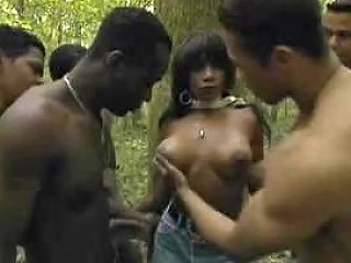 BravoTube Porno - Black Girl Gang Banged In The Jungle